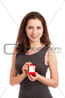 Woman holding empty box for engagement ring