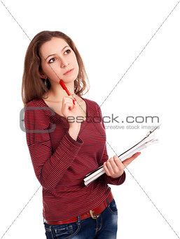 Female student with clipboard thinking