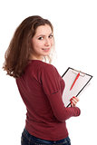 Female student with clipboard