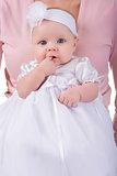 newborn baby girl on mother hands