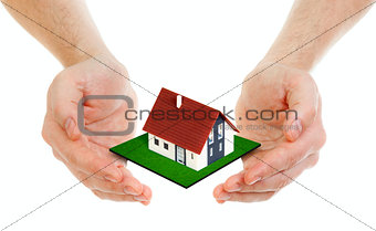 Hands holding small house isolated on white