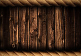 Grunge wood background or backdrop with rope frame