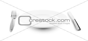 white plate, knife and fork cutlery isolated with clipping paths