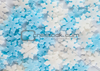 snowflakes pastry decoration background