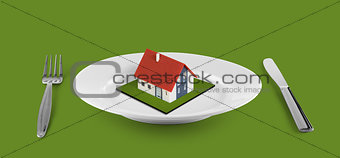 small house concept  on white plate located on green table