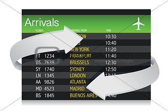 Airport Arrivals Board with arrows showing changes