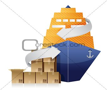 cargo ship, boxes, and movement arrows