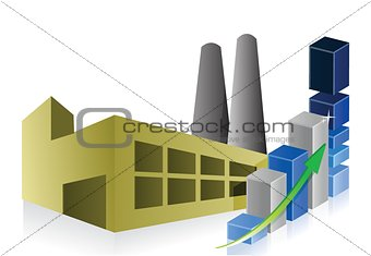 business graph, Factory, power plant