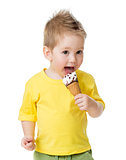 kid eating and licking ice cream isolated on white