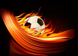Fire football background with a soccer ball  Vector