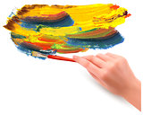 Abstract color background with hand  