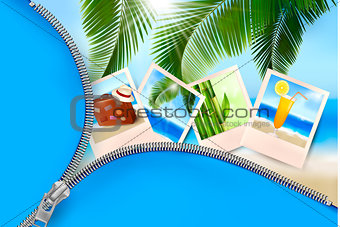 Background with photos from holidays on a seaside  Summer holida