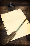 blank sheet of paper and quill
