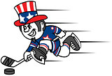 Hockey player dressed as Uncle Sam. Can be used as logo and mascot hockey team.