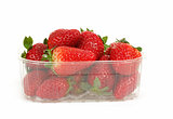 fresh strawberries in box on white