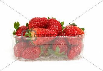 fresh strawberries in box on white