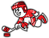 Ice hockey leading the puck. May be a logo and mascot team.