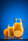 Orange juice over blue