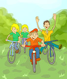Children riding on bikes in the park. Children play in the fresh air.