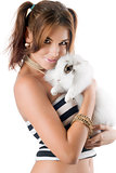 Pretty young woman with rabbit