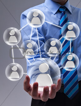 Social networking concept with connected glass speheres
