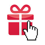 Red present icon with cursor hand vector
