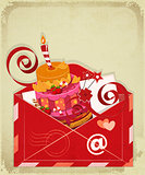 Vintage birthday card with Chocolate Berry Cake