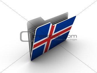 folder icon with flag of iceland