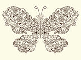 Vector  Butterfly Made of Flowers