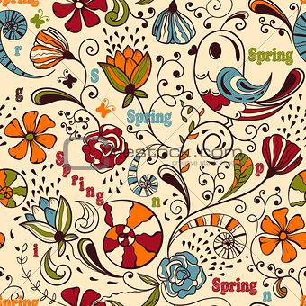 Vector Seamless Spring Pattern