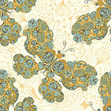 Vector Seamless Spring Pattern with  Butterflies Made of Flowers