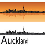 Auckland skyline in orange background