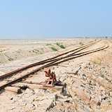 Old railway on Sambhar Salt Lake, India