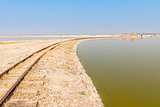 Railway on Sambhar Salt Lake, India