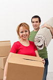 Couple moving into a new home