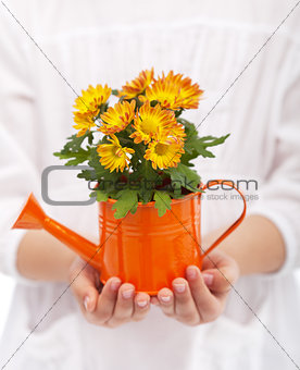 Little girl hands with flowers