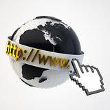 Internet Concept Illustration - Globe Coverered by Domain Bar La