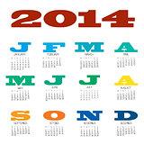 12 month calendar for 2014