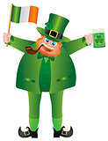 St Patricks Leprechaun with Flag and Beer