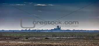 Cathedral in Ribe, Denmark seen from the marsh