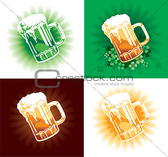 Four variation of beer tankards of st.Patrick holiday.