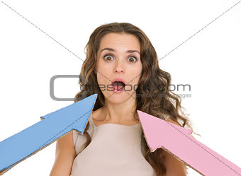 Arrows points on confused young woman