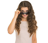 Young woman looking from sunglasses
