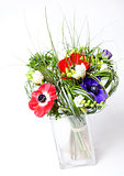 Anemones flowers in a beautiful bouquet
