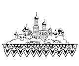 stylized Moscow Kremlin sketch