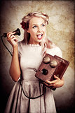 Surprised Telephone Operator With Good Or Bad News