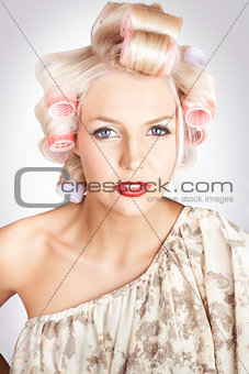 Beautiful Curly Blond Hair Girl At Beauty Salon