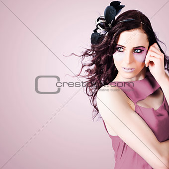 Stylish Portrait Of Fashion Girl In Purple Makeup