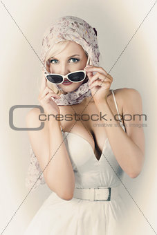 Retro Pin-up Girl In Classic Fashion Style