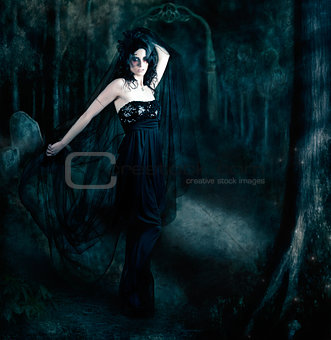 Moody portrait of an elegant mysterious woman